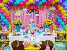 No photo description available. 5th Birthday Party Ideas, Rainbow Birthday Party, Unicorn Birthday Parties, Birthday Balloons, Rainbow Party Decorations, Rainbow Parties, Birthday Party Decorations, My Little Pony Birthday, Girls Party Decorations