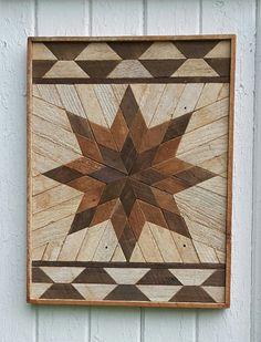 """Reciclado madera pared arte pared decoración listón arte Dark Star geométrica diseño mosaico rústico Natural 20 """"por 20"""" por 1.5 """"sala de estar, decoración de dormitorios"""