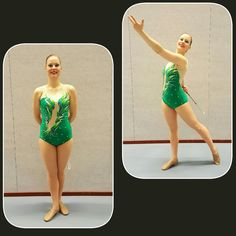 kelly green suit with airbrushed appliques and beatiful green and ab rhinestones.