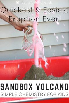 Simple sandbox volcano for a kids chemistry activity and demonstration. Baking soda science with a volcano in the sand box. Great outdoor STEM and science for preschool, kindergarten, and early elementary age kids. All the best science experiments and activities for kids here!