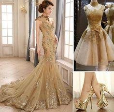 Vestido de encaje dorado