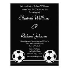 Soccer Ball Sport Player Fan Wedding Invitation Bl