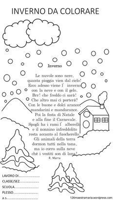 Libretto sulla stagione invernale da colorare. Disegni sull'inverno con poesia Inverno