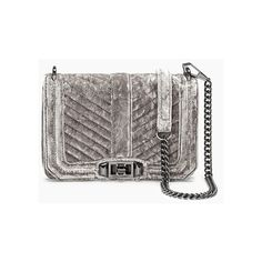 Small Velvet Chevron Quilted Love Crossbody Bag Grey ($215) ❤ liked on Polyvore featuring bags, handbags, quilted hand bags, quilted crossbody purse, purses crossbody, grey handbags and gray crossbody purse