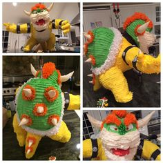Bowser piñata for Super Mario themed birthday party. This thing took about Super Mario Bros, Super Mario Birthday, Mario Birthday Party, Super Mario Party, 6th Birthday Parties, Boy Birthday, Mario And Luigi, Mario Kart, Nintendo Party