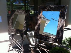 mirror frames from nuts and sticks