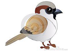 Vector Illustration Clip art of a cute Cartoon Sparrow.