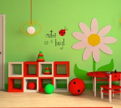 Ladybug Lady Bug Wall Decal  Cute As A Bug  by AirlieCreations, $20.00...... When the girls need a room update!!!