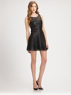 Parker - Mesh Panel Leather Dress - $396.00 - Click on the image to shop now