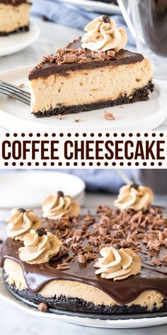 This extra creamy coffee cheesecake has an Oreo cookie crust, delicious espresso flavor, and a coffee-infused chocolate ganache on top. It's a decadent dessert that's perfect for coffee lovers.#cheesecake #coffee #espresso #mocha #baked #chocolate #homemade #recipe from Just So Tasty Bon Dessert, Dessert Aux Fruits, Dessert Ideas, Köstliche Desserts, Delicious Desserts, Yummy Food, Tasty Recipes For Dessert, Recipes Dinner, Birthday Desserts
