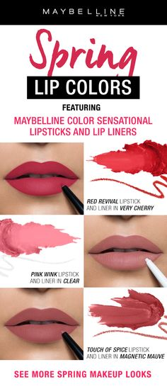 This spring season go for a pop of color with Maybelline Color Sensational lipstick and shaping lip liner to create an instant definition for full lips. This lip guide shows you how to pair 3 looks from red lips to pink lips to mauve lips. If you're looking for more spring makeup trend information just click through!