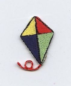 Iron On Embroidered Applique Patch Small Mini Summer Colorful Kite with String