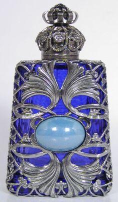 Czech Handmade Jeweled Filigree Perfume/Oil Bottle