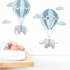 Flying Friends  Fabric Wall Decal  Nursery Daydreams by ShopMejMej