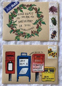 How to use mail-art templates — Naomi Loves Pen Pal Letters, Letter Art, Letter Writing, Blog Art, Mail Art Envelopes, Christmas Mail, Christmas Envelopes, Envelope Art, Envelope Templates