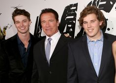 JANUARY 14: (L-R) Patrick Schwarzenegger, Arnold Schwarzenegger and Christopher Schwarzenegger attend 'The Last Stand' World Premiere at Grauman's Chinese Theatre on January 14, 2013 in Hollywood, California