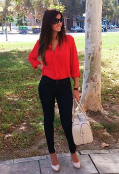 Discover and organize outfit ideas for your clothes. Decide your daily outfit with your wardrobe clothes, and discover the most inspiring personal style Red Top Outfit, Red Blouse Outfit, Red Shirt Outfits, Outfits Con Camisa, Outfits Mujer, Fall Outfits, Cute Outfits, Fashion Outfits, Fashion Sale