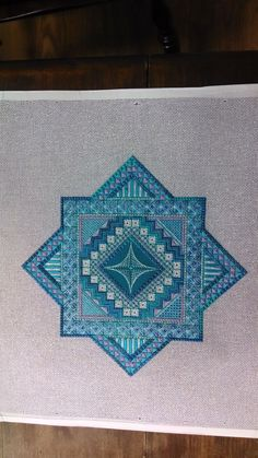 Turnberry Ridge by Jean Hilton - turquoise version, charted needlepoint Broderie Bargello, Bargello Needlepoint, Needlepoint Stitches, Needlepoint Canvases, Needlework, Cross Stitch Thread, Cross Stitching, Cross Stitch Embroidery, Cross Stitch Patterns