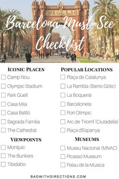 The ultimate list for Barcelona tourists. All the must-see viewpoints, popular locations, iconic places, museums, and more. Also get a four day recommended itinerary for your vacation or trip to Barcelona, Spain.