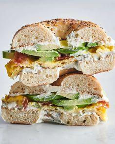 Cream Cheese Breakfast, Sandwich Cream, Breakfast Sandwich Recipes, Breakfast Bagel, Bagel Sandwich, Bagel With Cream Cheese, Breakfast Ideas, Breakfast Time, Cheese Bagels