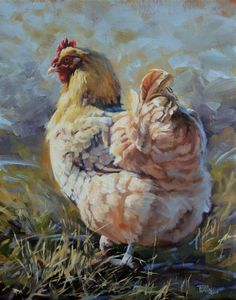 oil on canvas Buff Orpington Rooster Painting, Rooster Art, Chicken Painting, Chicken Art, Chickens And Roosters, Pet Chickens, Animal Paintings, Animal Drawings, Watercolor Animals