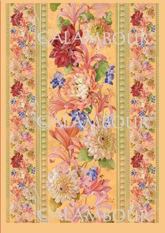 CAL 308 - Calambour Paper for classic Decoupage. Pattern : pink tones dalhias, violets and leaves, tapestry spirit with moulding. Details: measures 50 x 70 cm, printing on 80 gr/mq paper sheet