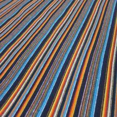 Navy and orange micro stripes on cotton/spandex jersey