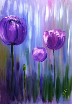 Tulips. Acrylic painting on canvas. - #acrylic #canvas #painting #tulips