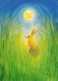 Rabbit on a sunny day - Art - Marjan van Zeijl - Het Haasje en de maan Chalkboard Pictures, Chalkboard Drawings, Chalkboard Art, Crayon Drawings, Chalk Drawings, Watercolor Animals, Watercolor Paintings, Rudolf Steiner, Wet On Wet Painting
