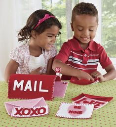 """""""We've got mail!"""" This adorably detailed felt play set is a heartwarming way to introduce kids to the joys of friendship. There's so much to do and see (and so many skills to build) as kids peer inside the mailbox, enjoy the satisfaction of putting valentines in envelopes and handing them out or placing them in the mailbox, and best of all, putting the flag up and down. Set includes four stamped envelopes, four valentines, a mailbox with movable flag, and lots of heartfelt fun."""
