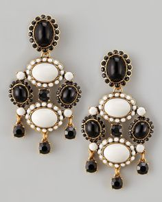 Cabochon Drop Clip Earrings, Black/White by Oscar de la Renta at Bergdorf Goodman.