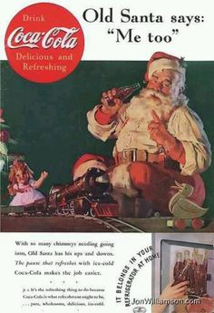 1947 Coke Santa Claus and bunny toy Coca-Cola Christmas vintage print ad in Collectibles, Advertising, Soda, Coca-Cola, Advertising-Print Coke Santa, Coca Cola Santa, Coca Cola Christmas, Coca Cola Ad, World Of Coca Cola, Pepsi, Christmas Train, Christmas Ad, Christmas Pictures