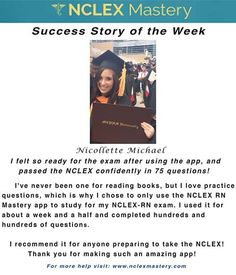 Nicollette Michael is our #NCLEX Mastery Success Story of the Week. Congratulations on passing your NCLEX, and becoming a #nurse. We're glad we could help play a part in you achieving your dreams! If you want to know how Nicollette passed or if you need help on your NCLEX studies visit: www.nclexmastery.com.