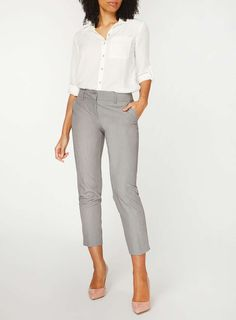 Womens Grey Split Hem Ankle Grazer Trousers- Grey