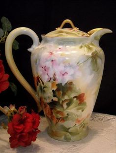 Haviland Chocolate Pot | Exquisite Haviland Limoges Chocolate/Cocoa Pot; Handpainted with Rare ...