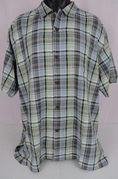 NWT Tommy Bahama Mens XL Silk Camp Shirt House Of Plaid Gray Green SS Button Up #TommyBahama #ButtonFront