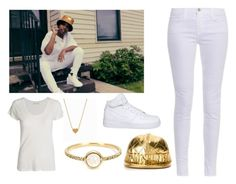 """""""Dej or Naw?"""" by tianna12 ❤ liked on Polyvore featuring American Vintage, Irene Neuwirth, Minnie Grace, NIKE, J Brand and Moschino"""