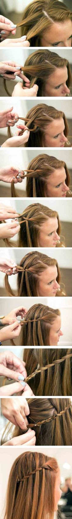 The waterfall braid tutorial step by step i need to learn how to do this i love it so much flechtfrisuren lange haare wasserfall flechtfrisuren haare lange wasserfall Waterfall Braid Tutorial, Waterfall Braids, Waterfall Hairstyle, Hairstyle Braid, The Waterfall, Updo, Easy Hairstyles, Girl Hairstyles, Step By Step Hairstyles