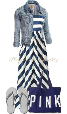 Stripe maxi dress casual spring outfit