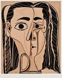 Pablo Picasso - Jacqueline Au Bandeau De Face | From a unique collection of portrait prints at http://www.1stdibs.com/art/prints-works-on-paper/portrait-prints-works-on-paper/
