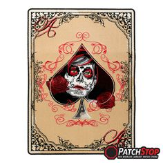 """Ace Of Spades Day Of The Dead Girl Patch 100% fully embroidered ace of spades card patch with a day of the dead ladies face and roses within the spade symbol. The Ace Of Spades Day Of The Dead Girl patch is available in 3 sizes Small patch measures 2.75"""" W x 3.75"""" H (7cm x 9.5cm) Medium patch measures 5.75"""" W x 8"""" H (14.6cm x 20.3cm) Large patch measures 8.5"""" W x 11.75"""" H (21.6cm x 29.9cm)"""