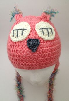 Items similar to 6 - 12 month Organic Cotton Pink Crochet Owl Hat with Earflaps on Etsy Crochet Owl Hat, Cute Owl, Owls, Beanie, Super Cute, Trending Outfits, Unique Jewelry, Handmade Gifts, Pink