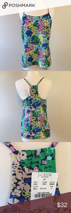 J Crew Floral Pattern Racerback Tank NWT Beautiful top! 100% polyester. Brand new with tags. Machine wash. Bust is 34 inches. Length along the side (from underarm to hem) is 17 inches. Straps are adjustable! Don't miss out on this beautiful top!   T0010 J. Crew Tops Tank Tops