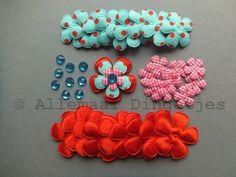 Partij-bloemen-applicaties-rood-aqua-donkerroze-(10-setjes)
