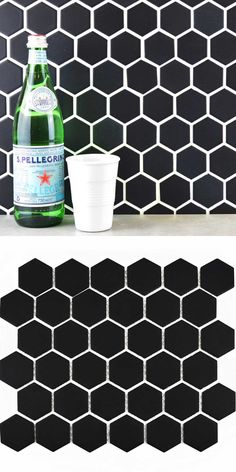 Create a dark trendy honeycomb look with these Bijou Matt Black Hexagon Mosaic Tiles. They're made from porcelain so they can be used on a wall or floor. Hexagon Mosaic Tile, White Mosaic Tiles, White Wall Tiles, Black Tiles, Wall Tile Adhesive, Black Grout, Tiles Price, Kitchen Walls, Kitchen Black