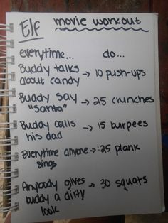 elf movie workout made by julia pharris. this is hilarious. i think i'll make a drinking game to this instead though...