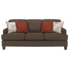 Deshan - Chocolate Contemporary Queen Sofa Sleeper with T-Cushions by Benchcraft at Del Sol Furniture