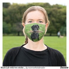 Black Lab with two sticks Dog Photo Adult Cloth Face Mask Friesian Horse, Shape Of You, Dog Photos, Ear Loop, Sensitive Skin, Olive Green, Blush, Unisex, Horses