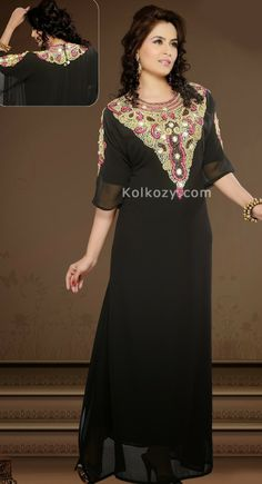 Admire You by Everyone When You Wear This Clad To Elegant Affairs This unique Black Color Faux Georgette #Embroidered #Kaftan.