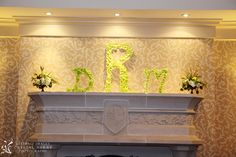 rose petals to cover the bride and groom's initials